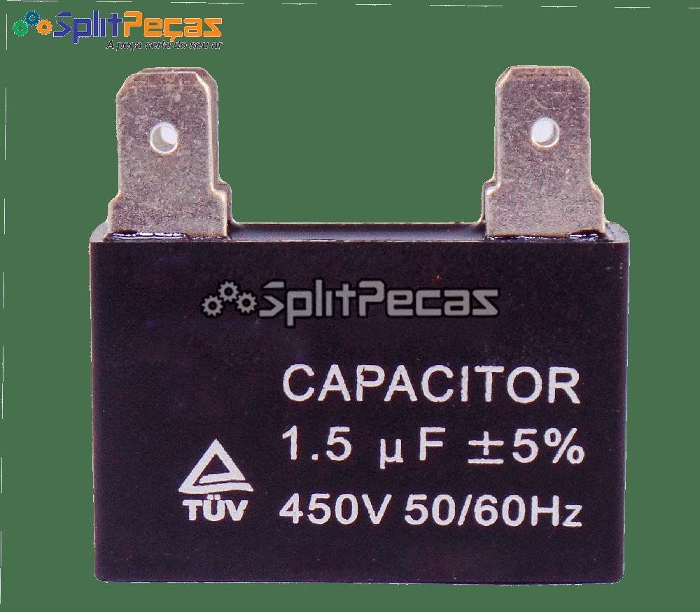 Capacitor Partida do Motor Ventilador 1,5uF ± 5%  SH 450VAC 50/60 Hz (4 Terminais)