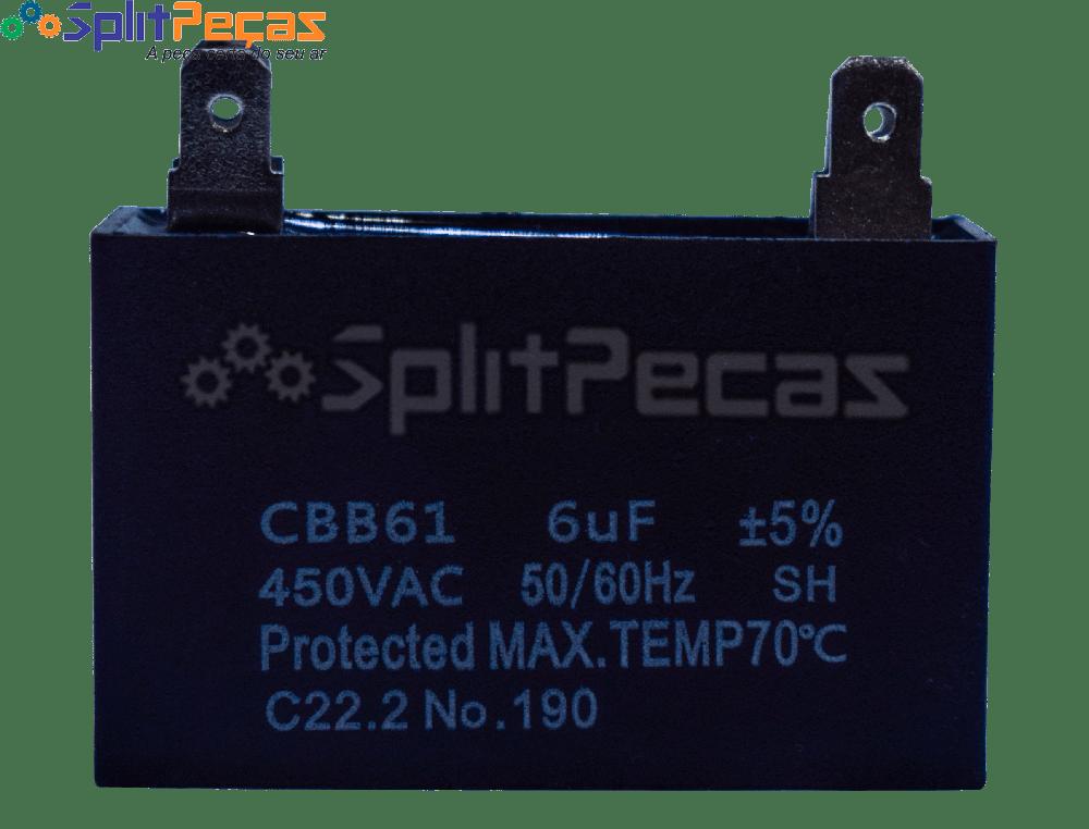 Capacitor Partida do Motor Ventilador 6uF ± 5%  SH 450VAC 50/60 Hz (4 Terminais)