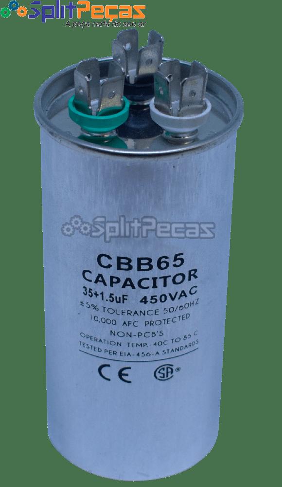 Capacitor de Partida do Compressor 35+1.5uf 5% SH 450VAC 50/60 HZ (3 Terminais)