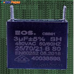 Capacitor Partida do Motor Ventilador 3uF ± 5%  SH 450VAC 50/60 Hz (2 Terminais)