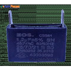 Capacitor Partida do Motor Ventilador 1,2uF ± 5%  SH 450VAC 50/60 Hz (2 Terminais)