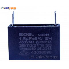 Capacitor Partida do Motor Ventilador 1,5uF ± 5%  SH 450VAC 50/60 Hz (2 Terminais)