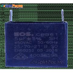 Capacitor Partida do Motor Ventilador 5uF ± 5%  SH 450VAC 50/60 Hz (2 Terminais)