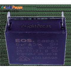 Capacitor Partida do Motor Ventilador 6uF ± 5%  SH 450VAC 50/60 Hz (2 Terminais)