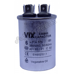 Capacitor de Partida do Compressor Vix 6 UF + 5% SH 380VAC 50/60 HZ ( 2 PÓLOS ) 108309